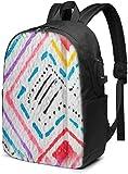 Mochila para Ordenador portátil con patrón Texturizado de Tinta Colorida AOOEDM, Mochilas de Viaje de Negocios de 17 Pulgadas, Mochilas Escolares con Puerto de Carga USB