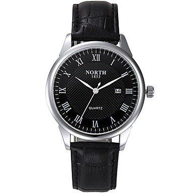 Fenkoo Herren Armbanduhr digital / Japanischer Quartz Kalender / Wasserdicht Leder Band Bettelarmband Schwarz Marke