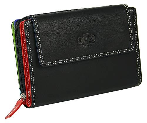 Jennifer Jones - Große Echt-Leder Damengeldbörse, Schwarz mit farbigem Innen-Design, Multicolor Geldbeutel mit vielen Fächern, Münzfach, Ausweisfach, Fotofach