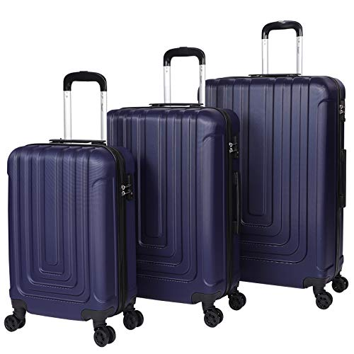 Suitcase Set Luggage Sets of 3 with 4 Spinner Wheels ABS Hard Shell Lightweight TSA Lock Suitcase Large Medium Small -20' 24' 28' (Blue)
