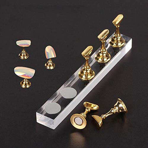 5 PCS Nouveaux outils de manucure acrylique, KEERADS magnetique Main d'entrainement des ongles Socle d'exercices pour ongles Fournitures pour Conseils pour les ongles Presentoir argent (Or)
