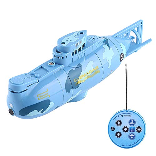 Remote Control Submarine, RC Submarine Model Diving Boat Remote Control Rechargeable Toy ( Color : Blue )