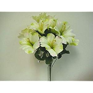 18″ Bouquet Green Pink Hibiscus Bush Artificial Silk Flowers LivePlant