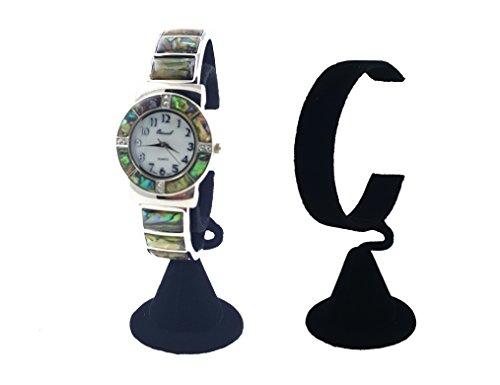 N'ice Packaging 2-Pack Black Velvet Wrist Watch Bracelet Jewelry Showcase Display Stretchie Bangle Bracelet Display Stand (Black Velvet)
