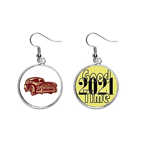 Deep Red Classic Cars Pattern Outline Pendientes Ear Pendants Jewelry 2021 Buena suerte