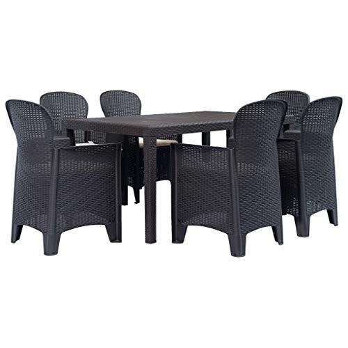 Festnight- 7-TLG.Garten Essgruppe Tischgruppe Esstischgruppe Sitzgruppe Esszimmergarnitur | 1 Esstisch & 6 Stühle & 6 Sitzkissen | Kunststoff Braun Rattan-Optik