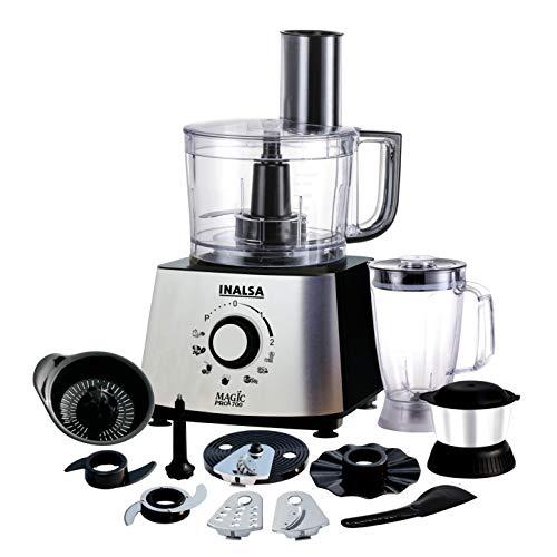 Inalsa Food Processor 1.4L Magic Pro700-800Watts with 2 Multipurpose Jars/ 11 Accessories, (Black/Silver)