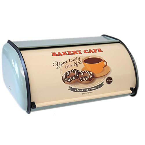 X459 Metal Bread Box/Bin/kitchen Storage Containers/Home KitChen Gifts with Roll Top Lid (Blue A)