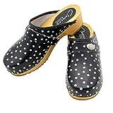 AbSoft Clogs DCG11 - Zuecos de madera para mujer, diseño de lunares, color negro, color, talla 39 EU
