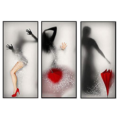 YBGW Gemälde Poster Leinwand Moderne Bilder Sexy Mädchen Mit Regenschirm Figuren Silhouette Leinwanddrucke Für Wohnzimmer Wandbilder Dekoration 40 * 90Cm Ungerahmt Wandtattoos-Bilder