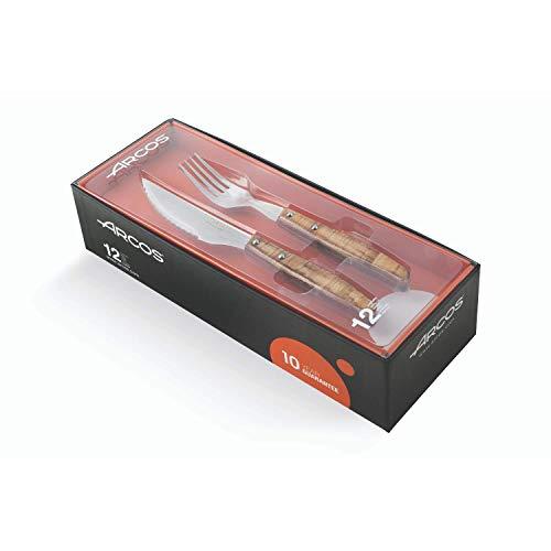 Arcos Coltelleria da Tavola, Set di Coltelli da Bistecca 12 pezzi (6 Coltelli + 6 Forchetta ), Acciaio Inossidabile, Manico Legno Compresso, Colore Marrone