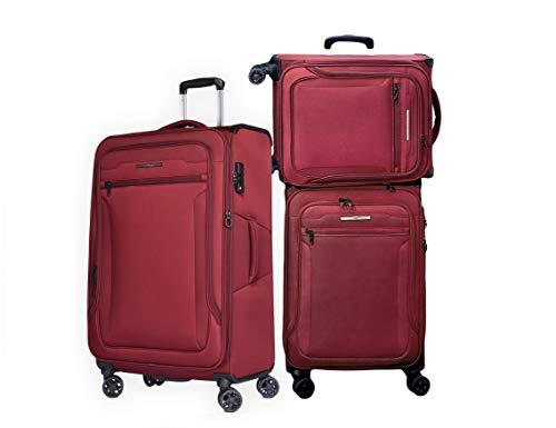 Verage Toledo Weichgepäck 4 Doppelrolle Trolley Set 3-teilig Weichschale Kofferset S M L, erweiterbar, TSA-Schloss, mit Stoff Handgepäck-Koffer Rot