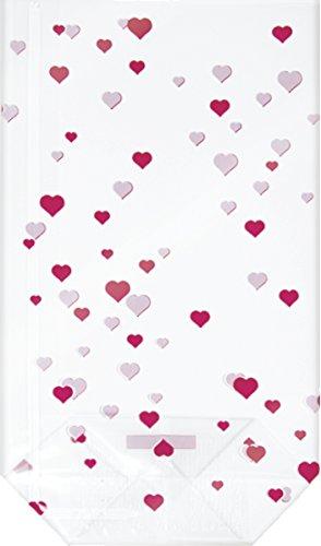 Baier & Schneider Hängeklarsichttasche cartelle sospese, sacchetti di cellofan, con cuori rossi foil, 190x 115