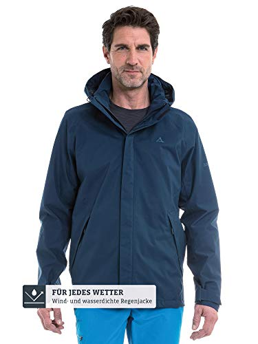 Schöffel Herren Jacket Easy M4 Wind-und wasserdichte Jacke mit Pack-Away-Tasche, leichte und atmungsaktive Regenjacke für Männer, Blau (dress blues), 50