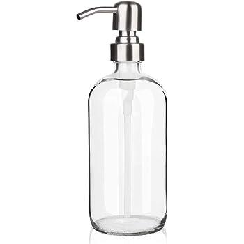 ソープディスペンサー - ARKTEK シャンプー ボトル ハンドソープディスペンサー 500ml 透明ガラスボトル 手洗い 食器用洗剤 ローション キッチン 洗面所 に適用