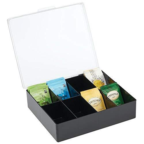 mDesign Küchen Organizer – praktischer Kasten mit Deckel für Küche und Speisekammer – Aufbewahrungsbox mit 8 Fächern – ideal für Tee, Kaffee, Gewürze und andere Lebensmittel – schwarz