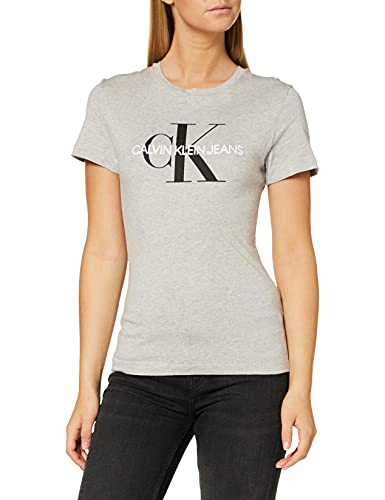 Calvin Klein Jeans Core Monogram Logo Regular Fit tee Camiseta de Manga Corta, Gris (Light Grey Heather 038), S para Mujer