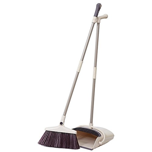 ALLCR Rotatable Broom and Dustpan Set, Artifact Standing Upright Foldable Set, Dustpan and Brush Set for Sweeping Office or Home (Brown)