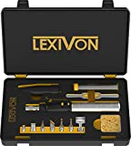 LEXIVON Multifunktionales Butan Lötkolben Kit | Kabellos, Selbstentzündende einstellbare Flamme 7 Aufsätze Set | Profi Level 125 Watt Äquivalent (LX-770)