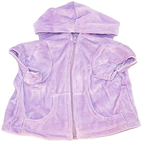 The Dog Squad Velour Zip Front Pet Hoodie, X-Small, Lilac