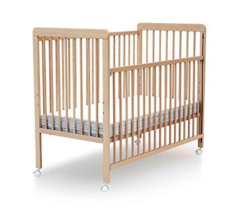 Lit bébé coulissant à barreaux hêtre verni 60x120