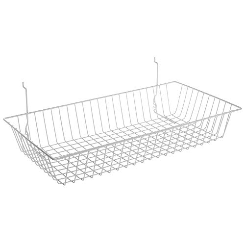 Box of 8 New Black Wire Sloping basket 15w x 12d x 5h Back x 3h Front