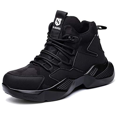 SUADEX Zapatos de seguridad para hombre y mujer, ligeros, deportivos, transpirables, con puntera de acero, 40-48 EU, color Negro, talla 47 EU