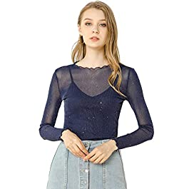 Allegra K Women's Long Sleeve Glitter See Through Mesh Top Spaghetti Strap Camisole