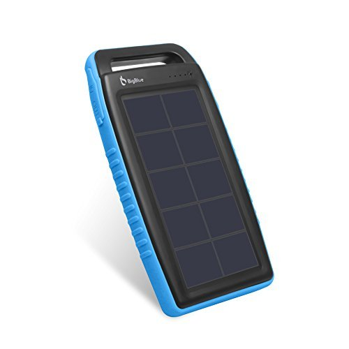 BigBlue Solar Battery Charger 10000mAh IPX4 Waterproof Dual USB Ports Emergency Solar Powered Charger with 6 LED Light Fast Charging for Cellphone Tablet and More Devices (Blue)