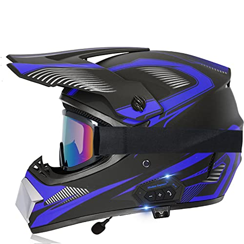 MJJYS Motorcycle Bluetooth Helmet, Off-Road Motorcycle Helmet, Adult Full Face Outdoor Helmet, Unisex,C,S