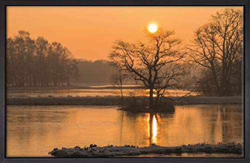 Homedeco-24 Canvas Leinwandbild Wandbild Kunstdruck, See im Sonnenuntergang 65x100 cm auf Keilrahmen gespannt und mit Massivholz-Schattenfugenrahmen 6 Farben-Auswahl, Hier...