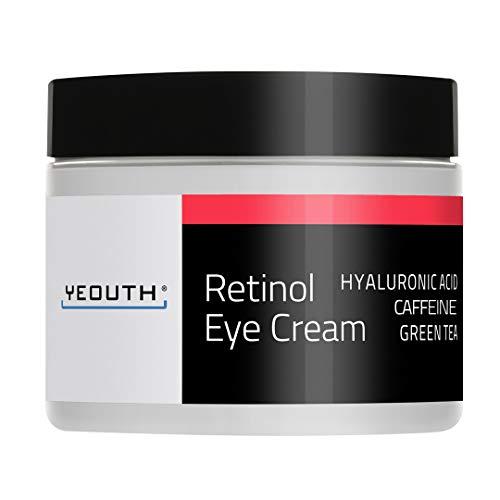 Retinol Augencreme 2,5{43547f81a3fd6651f2338c375f3b2a66ef8d376bda179c9389102c4f8207e4e1} von YEOUTH verstärkt mit Retinol, Hyaluronsäure, Koffein, Grüner Tee, Anti-Falten, Anti-Aging, straffe Haut, gleichmäßiger Hautton, feuchtigkeitsspendend und hydratisierend