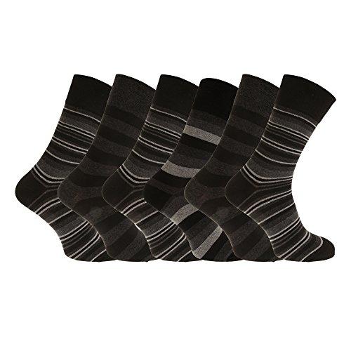 Aler Herren Dunkle Streifen Socken, nicht elastische (6 Paar) (6-11 UK/39-45 EU) (Dunkle Streifen)