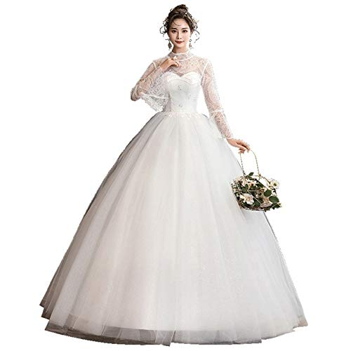 Trouwjurken Baljurken Bruids Lange Mouw Bruids Dromerige Bruidsjurk Borduurwerk Lace Up Jurk (Kleur: Gebroken wit, US Maat: 10)
