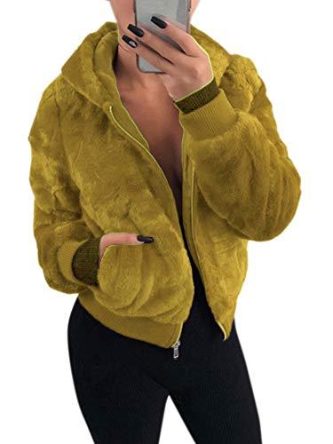 Vrouwen jas solide fluffy kunstbont met capuchon uitsparing lange mouwen ritssluiting geribde casual warme bovenkleding