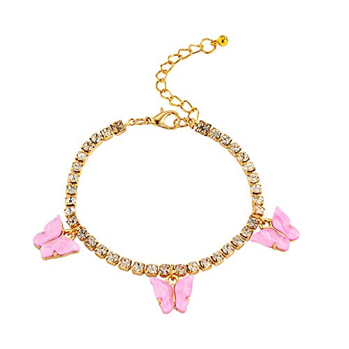 Watopi 1PC Sweet Cute Butterfly Bracelets For Women Gold Silver Shiny Crystal Wrist Chain Fashion Jewelry Bracelet for Valentine's Day Wedding Anniversury Gifts
