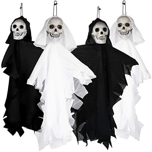 com-four® 4X Deko Skelett in weiß und schwarz, hängendes Gespenst für Halloween, Fasching, Karneval und andere Themen Partys, 35 cm (04 Stück - Geister-Skelett)