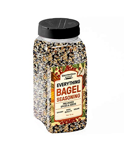 Everything Bagel Seasoning, 16 oz by Unpretentious Baker, Add Texture & Flavor to Any Recipe, Mix of Sesame Seeds, Poppy Seeds, Garlic, Onion & Salt, Convenient Shaker Jar