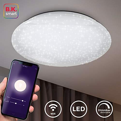 LED Deckenleuchte smart I Deckenlampe I 50cm Durchmesser I App Steuerung I iOS & Android kompatibel I inkl. 40W 4000lm LED Platine I WiFi I dimmbar I Sprachsteuerung I 2,4GHz