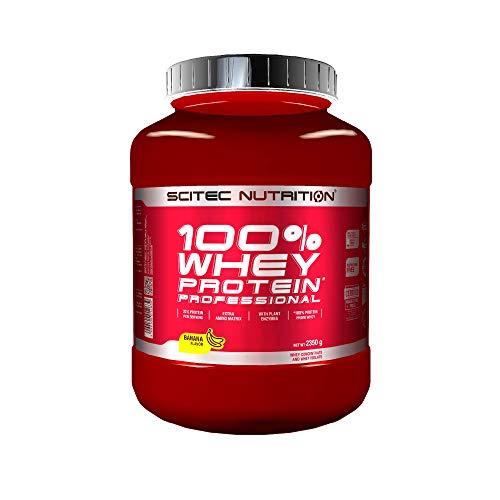 Scitec Nutrition 100% Whey Protein Professional con aminoácidos clave y enzimas digestivas adicionales, 2.35 kg, Plátano ⭐