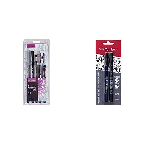 Tombow 56190 Beginner Lettering Set. Includes Everything You Need to Start Hand Lettering& 62038 Fudenosuke Brush Pen, 2-Pack. Soft and Hard Tip Fudenosuke Brush Pens for Calligraphy and Art Drawings