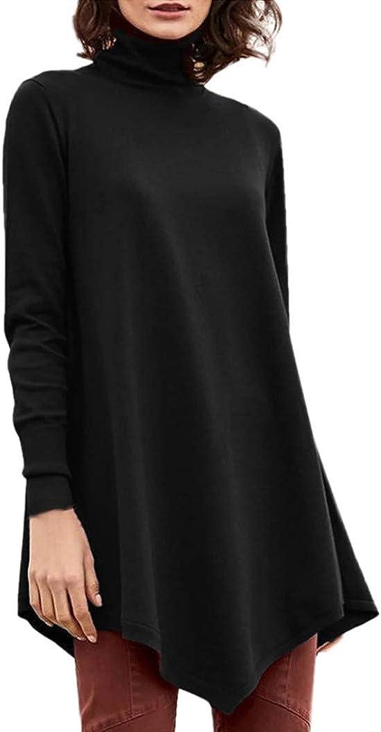 Women's Casual Tunics Turtleneck Long Sleeve Tops Irregular Hem Oversized Pullover Shirts