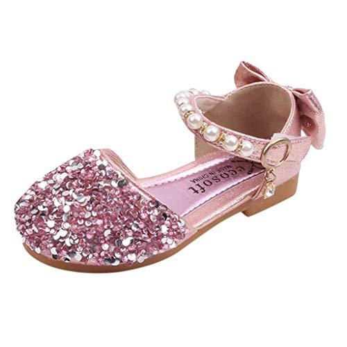 CixNy Tanzschuhe Kleinkind Sommer Mädchen Kinderschuhe Schuhe Einzelne Schuhe Weich Unterseite Bogen Perle Und Kristall Lederschuhe Lauflernschuhe Mädchen Prinzessin Shoes Gr.21-36
