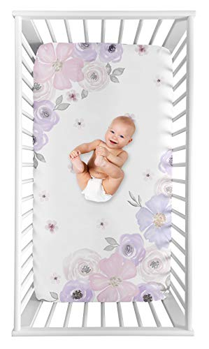 Sweet Jojo Designs Shabby Chic Floral Girl Fitted Crib Sheet Baby or Toddler Bed Nursery Photo Op - Lavender Purple, Pink and Grey Watercolor Rose Flower