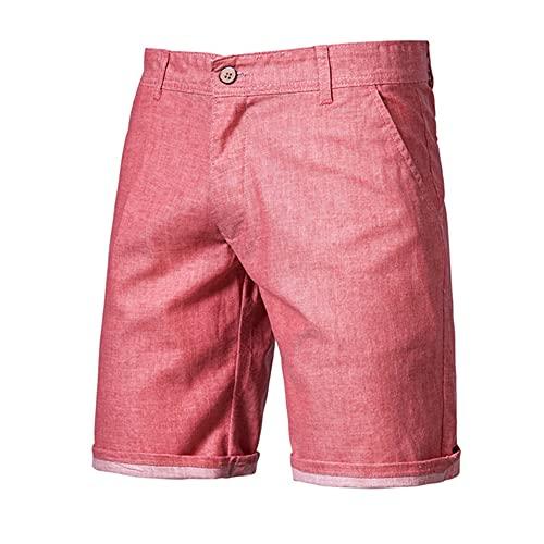 N\P Pantalones cortos de lino de algodón hombres hasta la rodilla casual hombre