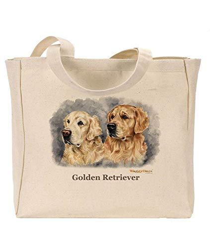 Waggy Dogz Golden Retrievers cd66 - Borsa in Tela Riutilizzabile, Ecologica, Ideale Come Regalo, Immagine Ritratto di Christine Varley