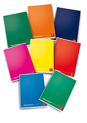 Pigna 02217780C Colours - Quaderno Monocromo, Formato A5, Rigatura 4M, 10 Pezzi