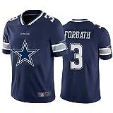 Maillot de Fan de Football américain Forbath 3# Cowboys, Maillot de Rugby T-Shirt Design Team Sportswear à Manches Courtes Unisexe col en V survêtement extérieur-Blue-XXL