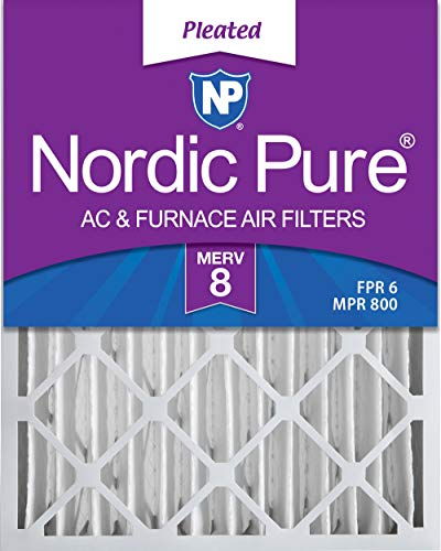 Nordic Pure 20x25x4 MERV 8 Pleated AC Furnace Air Filters 2 Pack