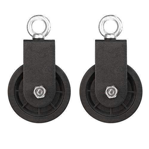 LFJ 90mm Seilrolle mit U Haltebügel, Block Umlenkrollen für Seile DIY Gym Fitnessgeräte Kabelmaschine Drahtseilrolle, 2PCS